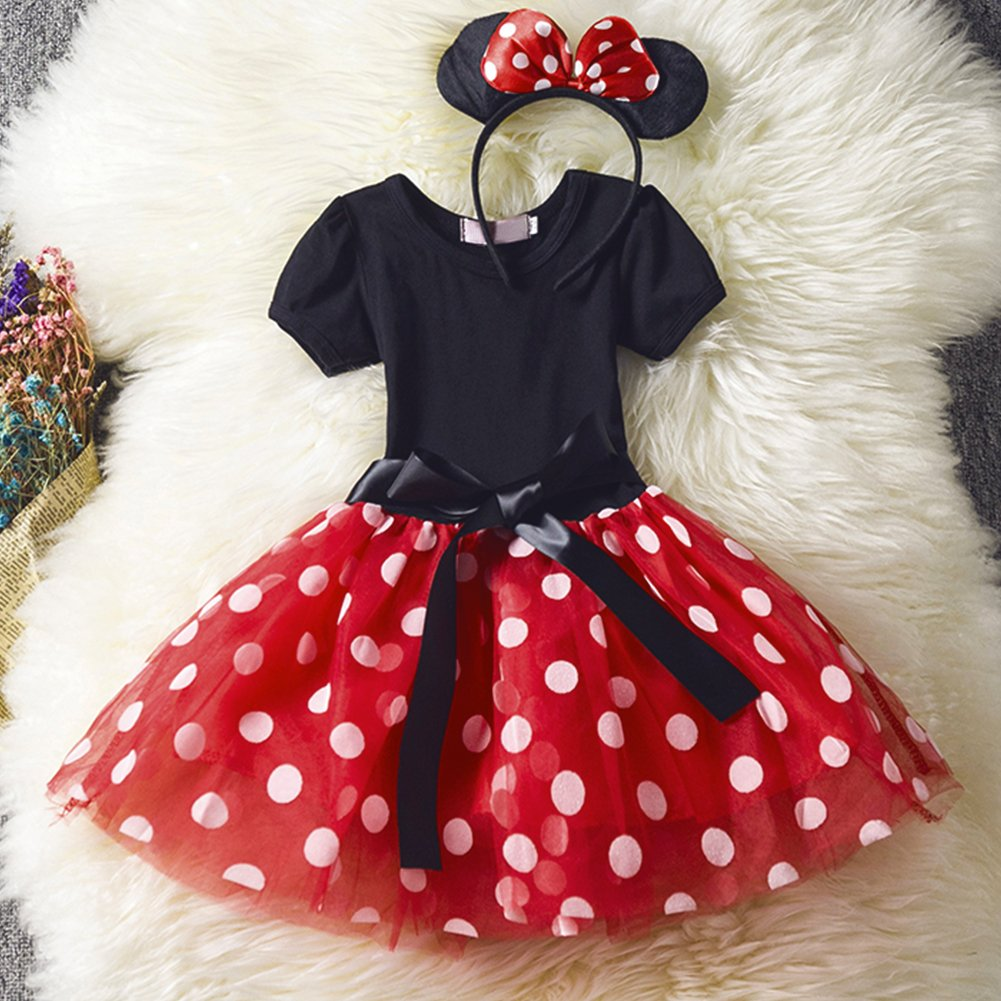 c1db56e12 IWEMEK Infant Baby Toddlers Girls Christmas Polka Dots Birthday Princess  Bowknot Tutu Dress Halloween Xmas Cosplay Carnival Pageant Cute Mouse Dress  Up ...