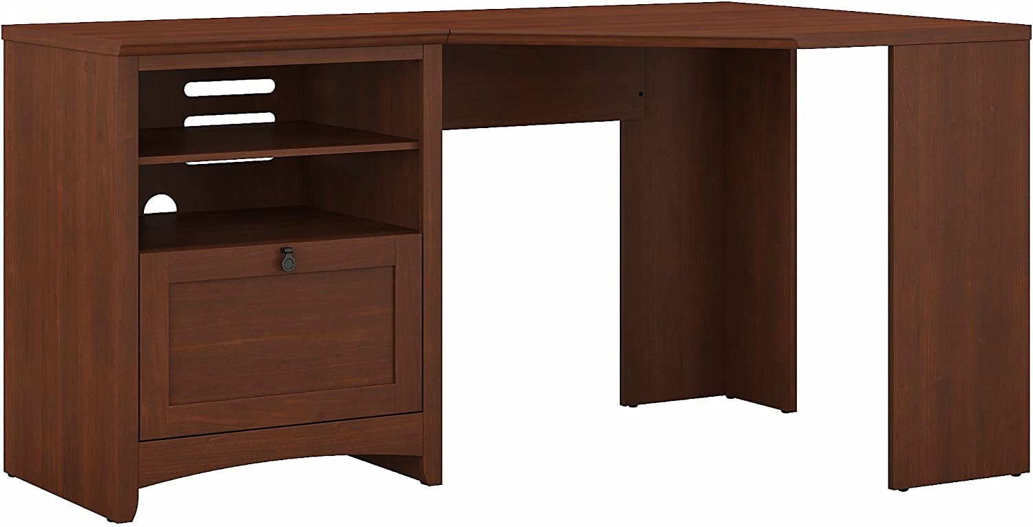 Bush Furniture Buena Vista 60W Corner Desk with Storage in Serene Cherry