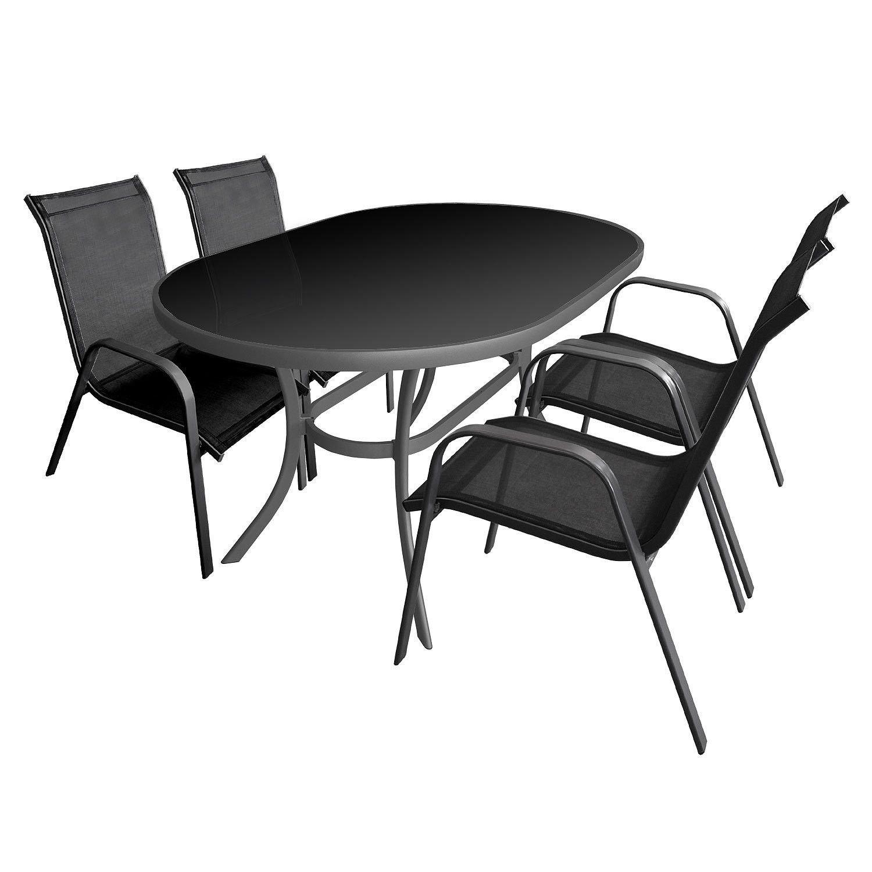 SSITG Sitzgruppe Gartengarnitur Gartenmöbel Set Glastisch 140x90cm + 4x Stapelstuhl