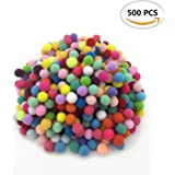 500PCS IFfree Craft Making Assorted Pom Poms,Hot Colors Pom Pons,Mini, 0.4 inch