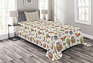 Ambesonne Forest Bedspread, Doodle Woodland Creatures as Honey Bear Rabbit Fox and Raccoon in Nature Habitat, Decorative Quilted 2 Piece Coverlet Set with Pillow Sham, Twin Size, Brown Green