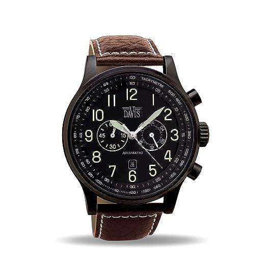 5850201d2f71 Davis 0452BR - Reloj Aviador Hombre Negro 48mm Cronógrafo Sumergible 50M  Correa de Piel Marrón  Amazon.es  Relojes