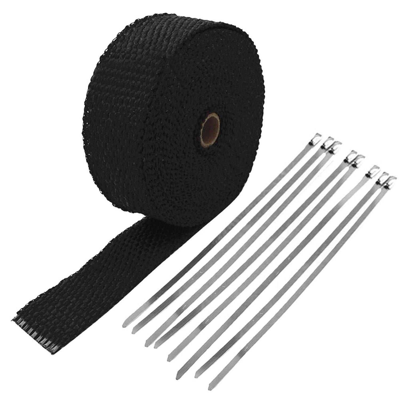 Vococal Bande Thermique Tissu Collecteur Echappement Isolant Haute Tempé rature Fibre Verre avec 8Pcs 300mm Colliers, 5cm x 15m P201610080038