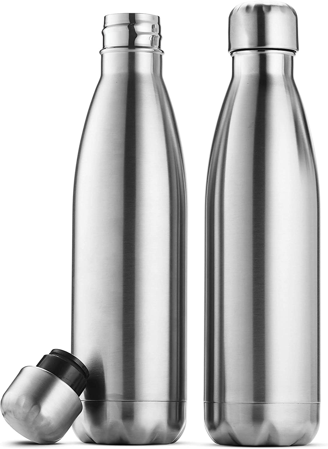 Triple Insulated Stainless Steel Water Bottle Set Of 2 17 Ounce Sleek Insulated Water Bottles Keeps Hot And Cold 100 Leakproof Lids Sweat Proof Water Bottles Great For Travel Picnic Camping