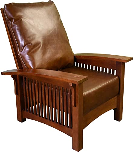 Crafters and Weavers Craftsman/Mission Leather and Oak Morris Chair