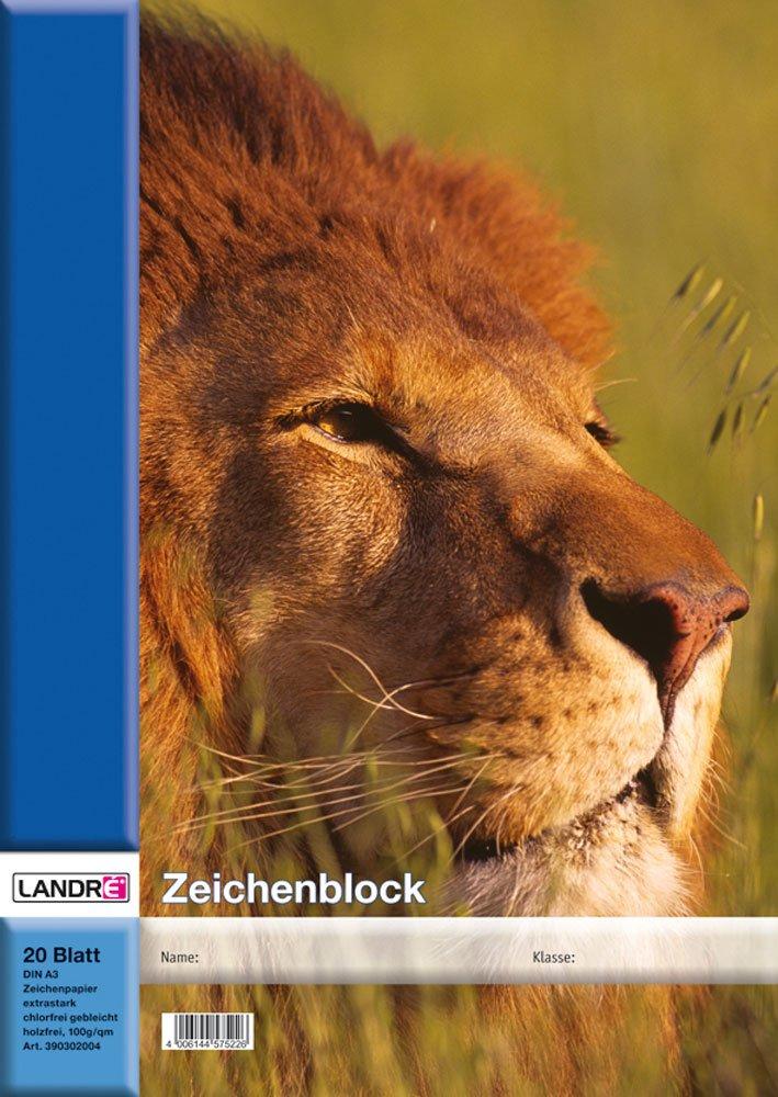 LANDRE 100050431 Zeichenblock 10er Pack A3 20 Blatt 100 g/m² Zeichen-Karton geheftet 4 Tier-Motive sortiert Zeichenpapier Hamelin GmbH