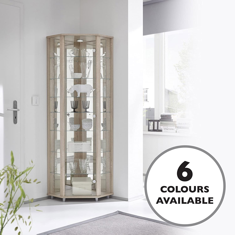 HOME Corner Glass Door Display Cabinet Oak with Mirror Back, 4 Moveable Glass Shelves & Spotlight DisplayCabinetsUK