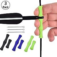 3 Pcs Bogenschießen Finger Ausrüstung für das Bogenschießen Mediterraner Kautschuk Silikonfinger Bowstring-Schutzausrüstung Pfeil und Bogen Zubehör Geeignet für Anfänger (Schwarz, Blau, Grün)