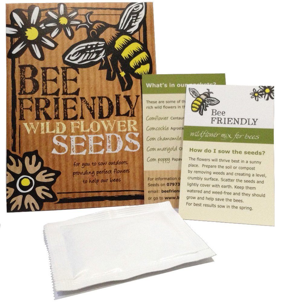 Bee-Friendly Wild Flower Seeds - Beautiful Native Wild Flowers in Many Colours, Great Gardener Gift. Over 1000 Seeds Per Packet, RHS Perfect for Pollinators Certified Mix. Friendly Seed Company