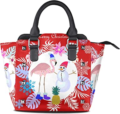 Women Handbag PU Leather Shoulder Tote Bag Flamingo Print Bag with Small Purse