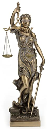 Large Bronze Finish Lady Justice 18 Inch Statue Sculpture