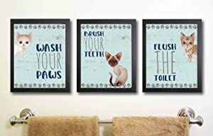 Silly Goose Gifts Kitty Cat Themed Bathroom Wall Art Print Decoration (Set of 3)
