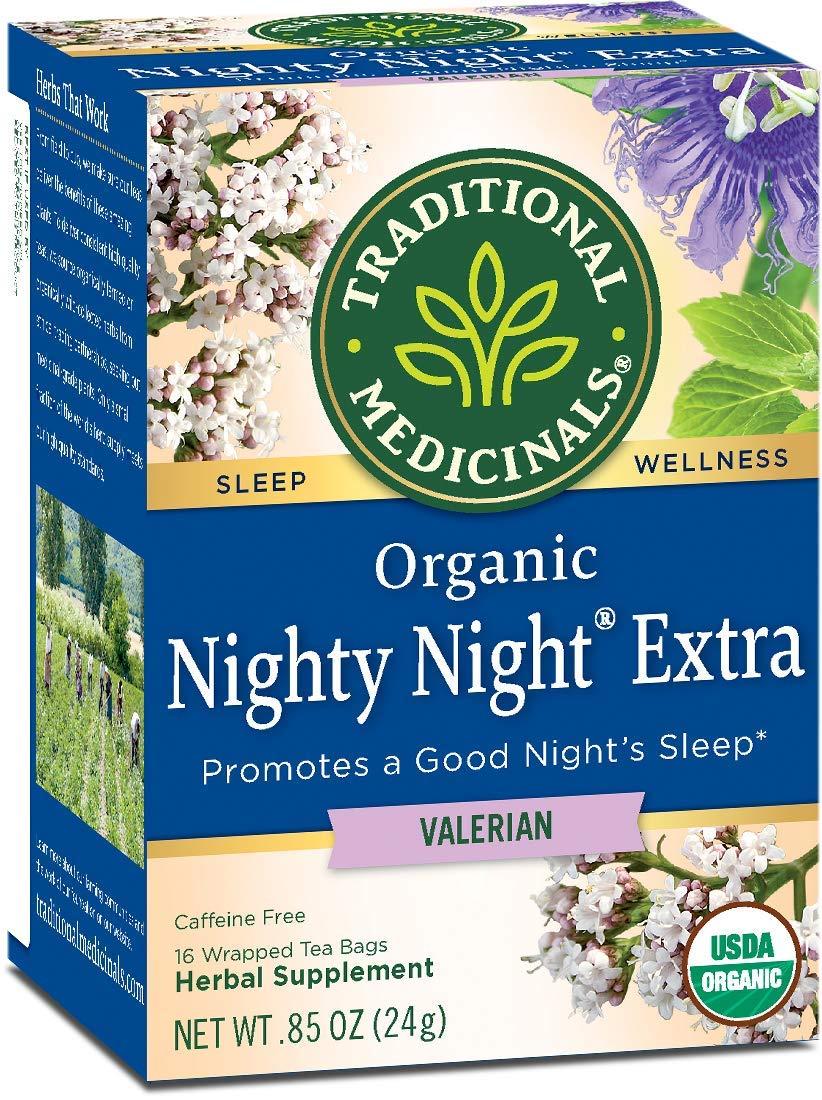 Traditional Medicinals Nighty Night Valerian, Naturally Caffeine Free Herbal Tea for Sleep Support