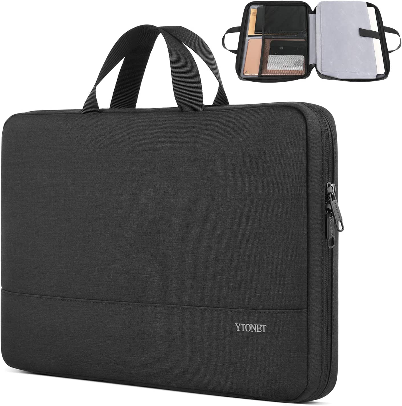 Ytonet Laptop Sleeve Case, 13.3 inch Slim Water Resistant TSA Laptop Case Cover, Durable Business Briefcase Handle Bag for 13-13.3 inch MacBook Pro, MacBook Air, HP Dell Lenovo Notebook, Black