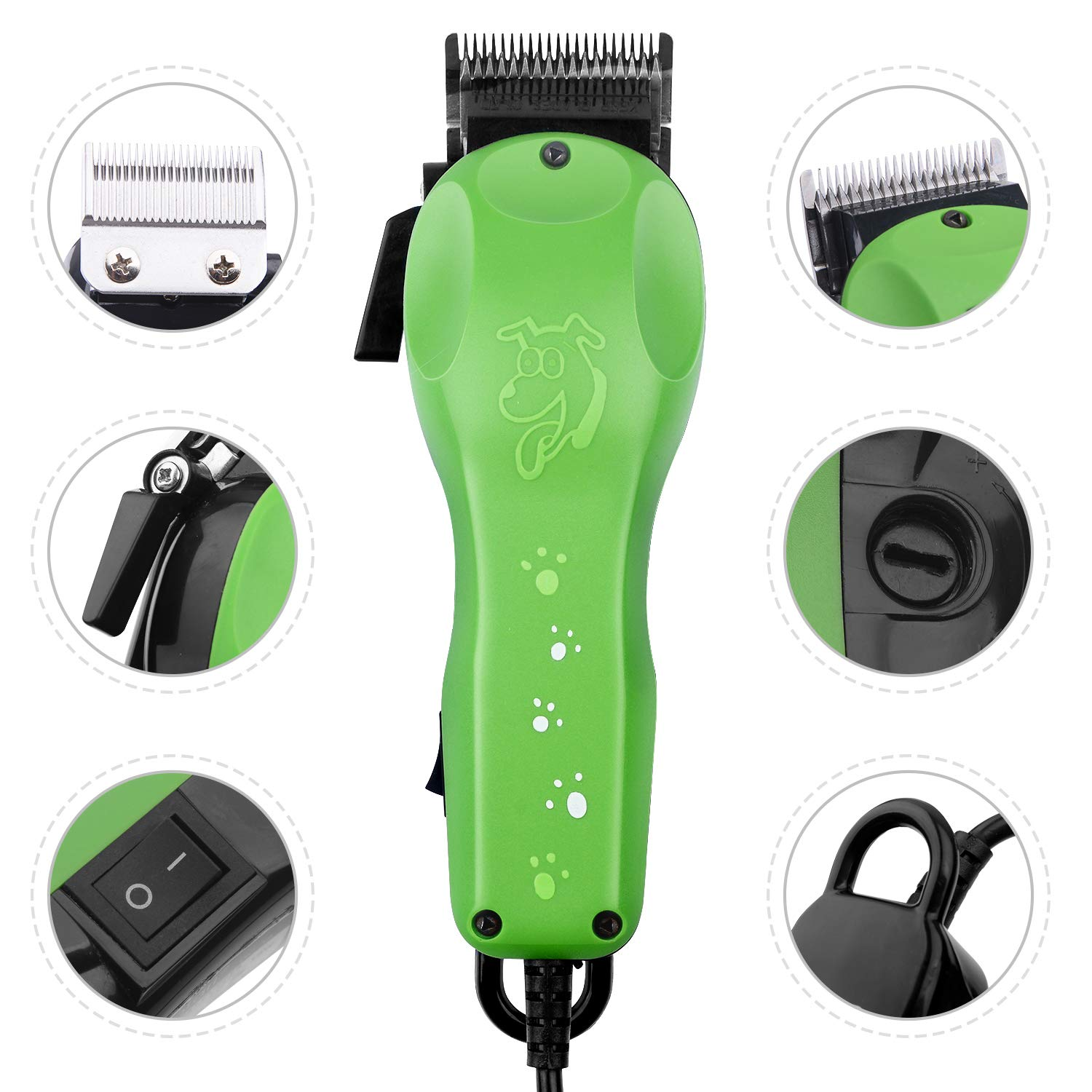 BESTBOMG Professional Electric Corded Dog Cat Trimmer Grooming Clipper Hair Removal Animal U-Clip Cordless Pet Grooming Clippers Set with Detachable Blade for All Coats with 4 Guide Combs Scissors