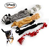 5 Pack Dog Squeaky Chew Toys No Stuffing Dog Toys with 100% Natural Cotton Rope for Small Medium Large Dog Pets Toys