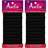 AwEx Black Hair Ties for Thick Hair,20 PCS,Large Hair Scrunchies,Cotton Scrunchie Holder,Ponytail Holder No Crease