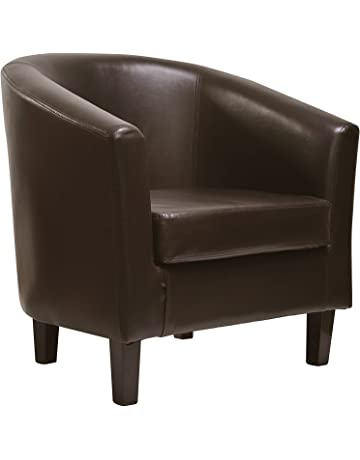 c9599020ef1 MCC Faux Leather Tub Chair Armchair club Chair for Dining Living Room    Cafe  Black