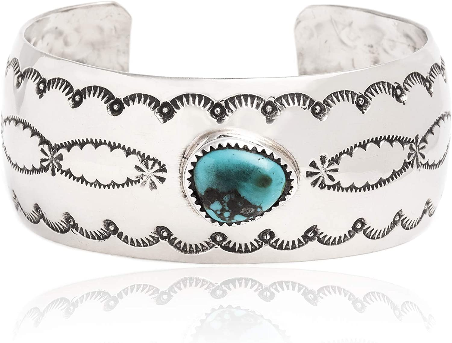 $250Tag Sun Nickel Certified Navajo Native Natural Turquoise Cuff Bracelet 12877 Made by Loma Siiva 71wG-p06d5LUL1500_