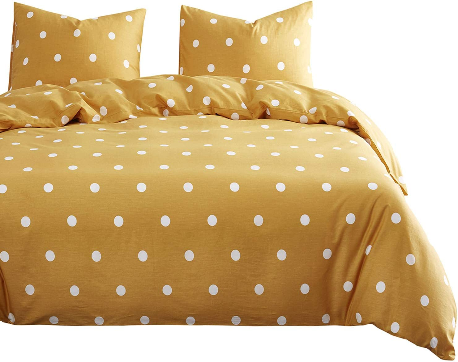 Wake In Cloud - Dotted Yellow Comforter Set, 100% Cotton Fabric with Soft Microfiber Fill Bedding, White Polka Dot Modern Pattern Printed (3pcs, Queen Size)