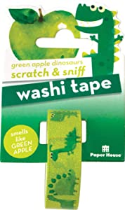 Paper House Productions Diggity Dinosaurs Green Apple Scented Scratch & Sniff Fun Print 15mm Washi Tape for Crafts and Scrapbooking