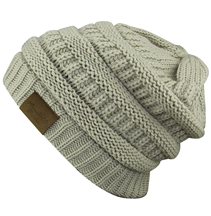 a7962c0ea Soft Slouchy Hat Extra Long Cable Knit Beanie Cap