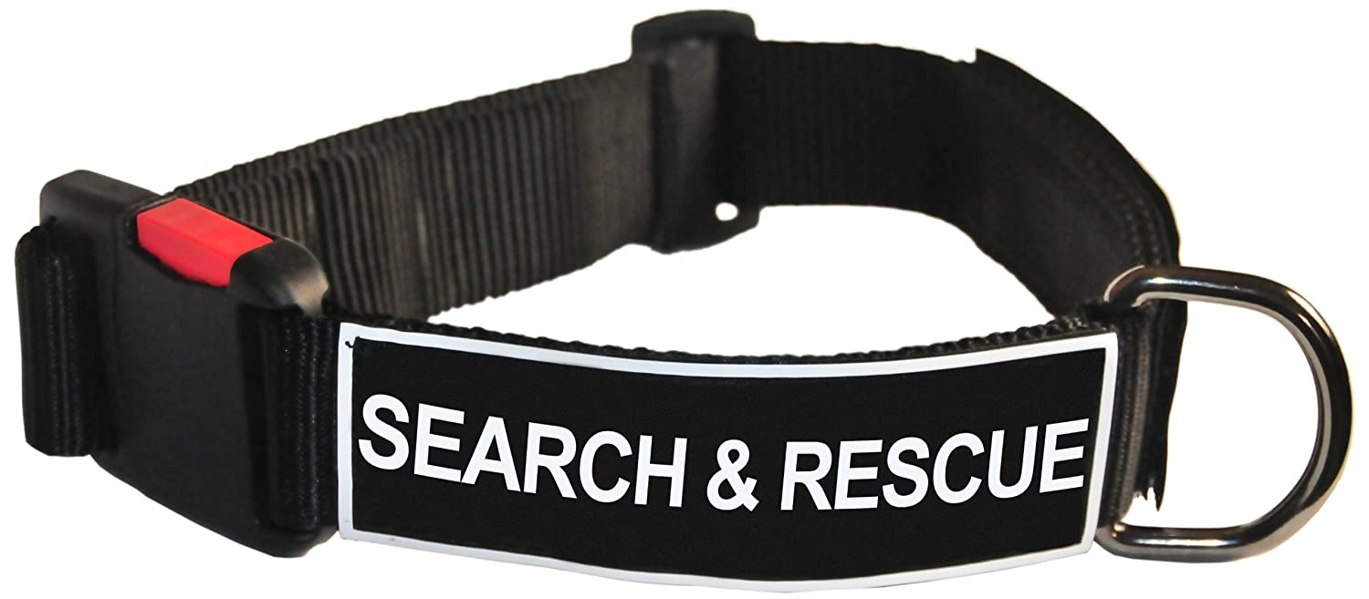 Dean and Tyler Patch Collar , Nylon Dog Collar with SEARCH AND RESCUE Patches Black Size  Small Fits Neck 18-Inch to 21-Inch