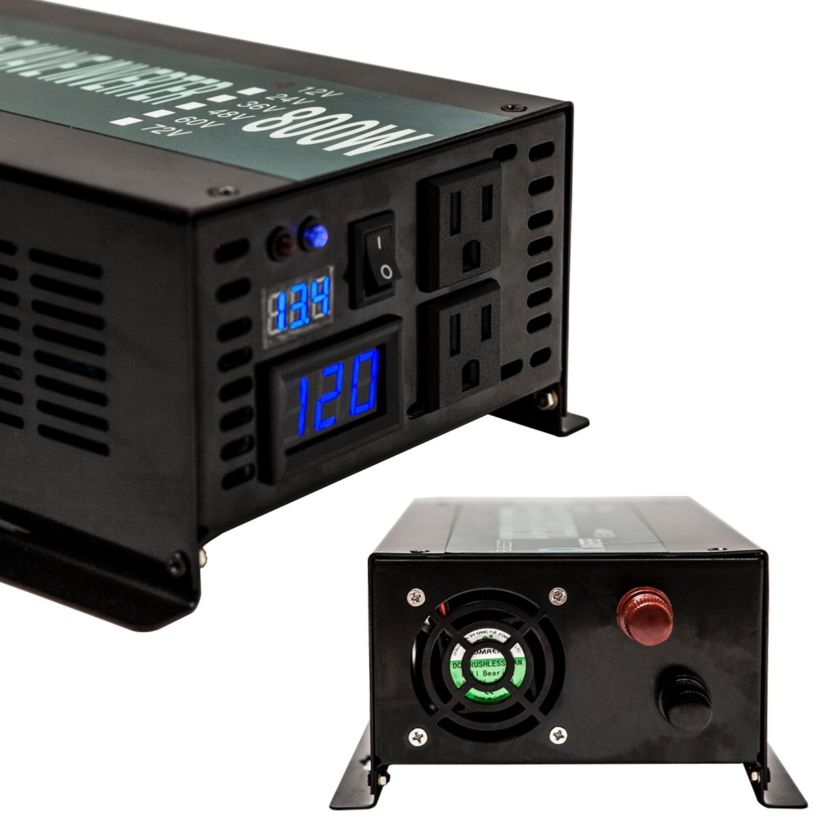 WZRELB Reliable Power Inverter 800w 1600w Peak Pure Sine Wave Inverter 12v 120v 60hz LED Display by WZRELB (Image #2)