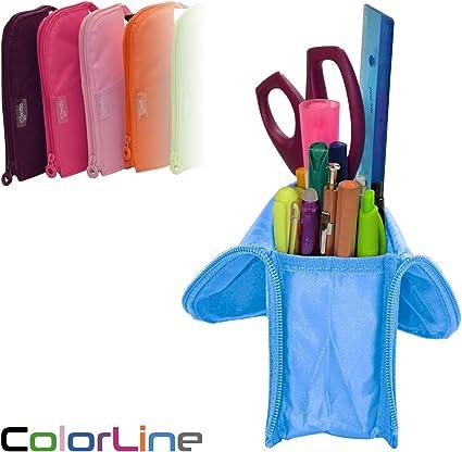Colorline 59611 - Portatodo Cubi, Estuche Multiuso Convertible en Cubilete para Material Escolar. Color Azul Claro, Medidas 21.5 x 9 x 7 cm: Amazon.es: Oficina y papelería