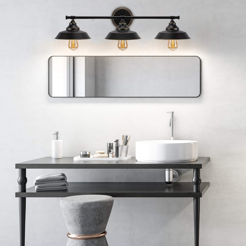 3-Light Wall Sconce Industrial Bathroom Vanity Light Fixture Vintage Indoor Wall Mount Lamp Shade for Bathroom,Bedroom,Vanity Table,Reading Cafe.