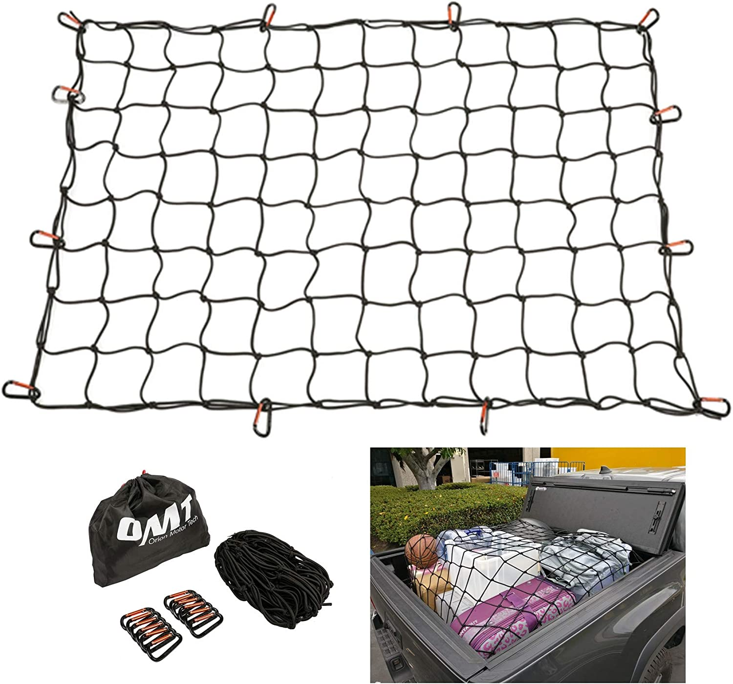 MICTUNING 3x4 to 6x8 Heavy Duty Bungee Cargo Net Latex Truck Bed Mesh 12pcs Free Carabiners /& Storage Bag for Loads Tighter Cargo Hitch