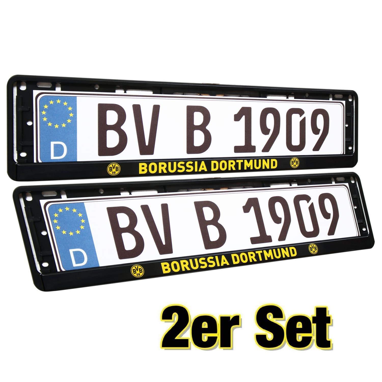 Borussia Dortmund Kennzeichenrahmen, Nummernschildträger, Kennzeichenhalter 2er Set - Plus gratis Lesezeichen I Love Dortmund Nummernschildträger