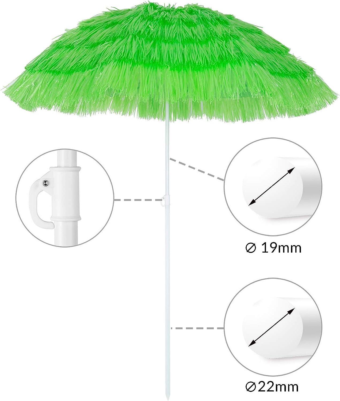 Kingsleeve Ombrellone da spiaggia Mare Hawaii in Paglia sintetica /Ø160cm Altezza 180 cm inclinabile regolabile robusto e stabile verde