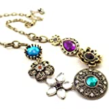 Shining Diva Fashion Colorful Gem Stylish Choker Necklace for Women