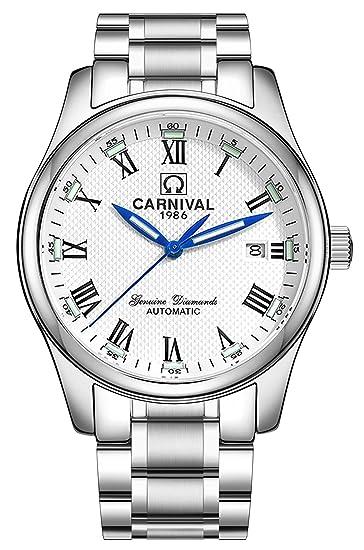 Mens negocio luminosa zafiro tritio reloj Números Romanos Acero Inoxidable Mecánico Automático Calendario Relojes: Amazon.es: Relojes