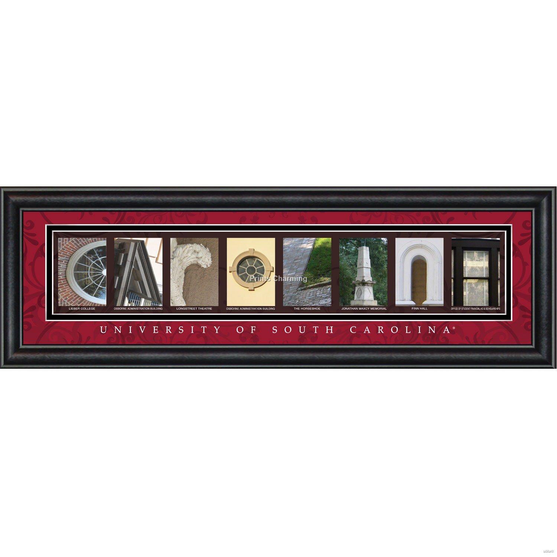 Prints Charming Letter Art Framed Print, U of South Carolina-Carolina, Bold Color Border
