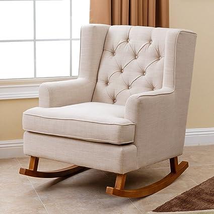 Merveilleux Abbyson Living Thatcher Fabric Rocking Chair In Beige