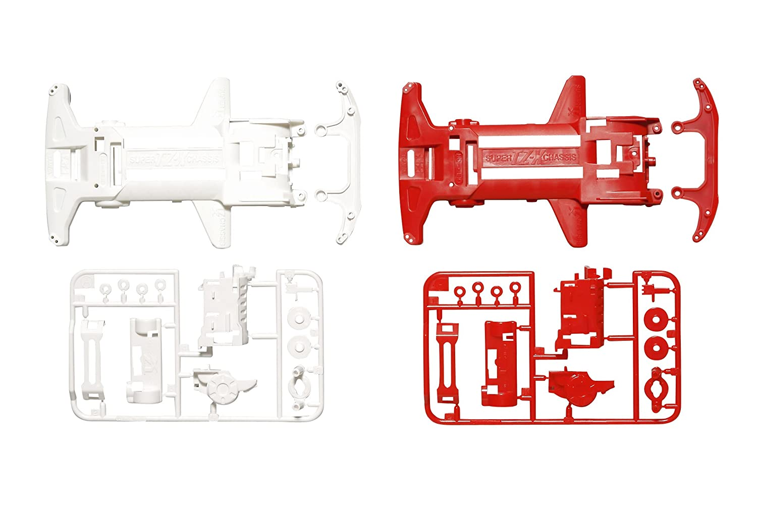 Super Tz X Reinforced Chassis Set White Red Mini 4wd Tamiya Original Toys Games