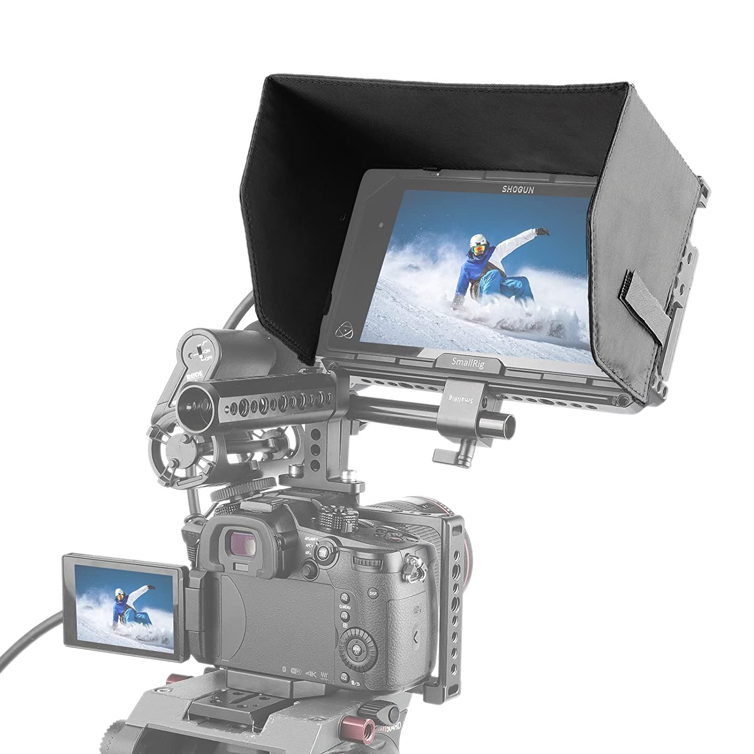 EVF Mount SmallRig NATO Lock Clamp with Single 15mm Rod Clamp for Monitor Mount 1254 LCD Light
