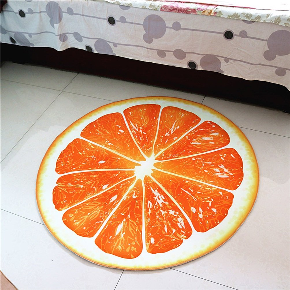 Rug WAN SAN QIAN- Round Carpet Creative Fruit Rugs Basket Swivel Chair Carpet Mats Children Bedroom Carpet Home Economy (Color : Orange, Size : 60x60cm)