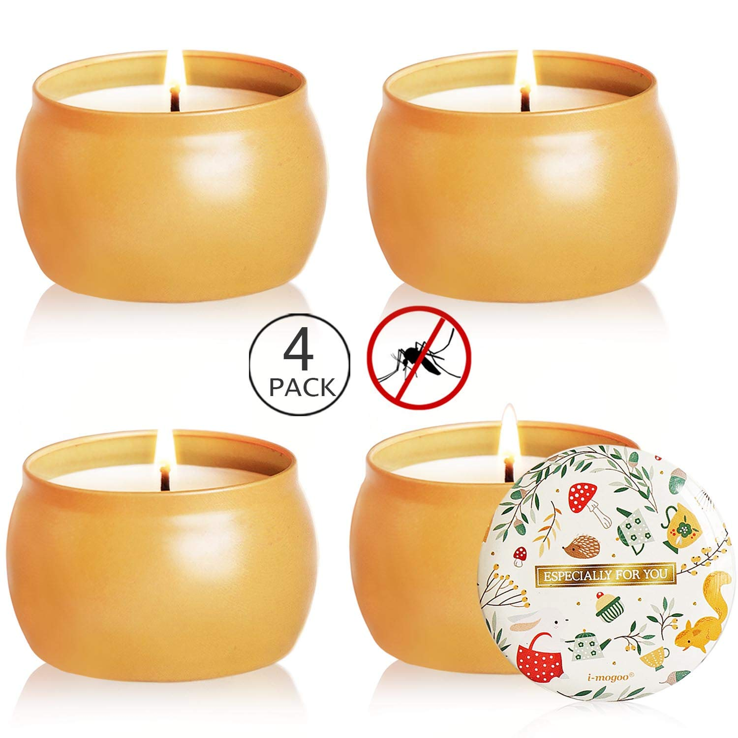 Howemon Citronella Candles Outdoor and Indoor, 4.8oz Scented Candles Pure Soy Wax Portable Travel Tin Candle for Stress Relief, 4-Pack Gift Set