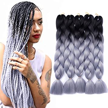 Yrenrea Hair 24 Ombre Kanekalon Jumbo Synthetic Braiding Hair Crochet Hair Extensions Jumbo Braids