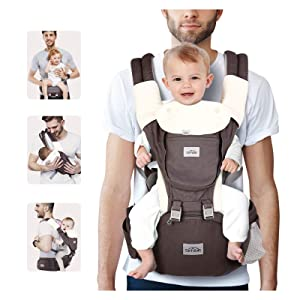 SIMBR Baby Carrier for Newborn to Toddler (3-36 Months ) with Hip Seat, Convertible 12-in-1 Ways to Carry Backpack Use, Adjustable Size for Men and Women, Ergonomic Design 360° Safety, Outdoor Hiking