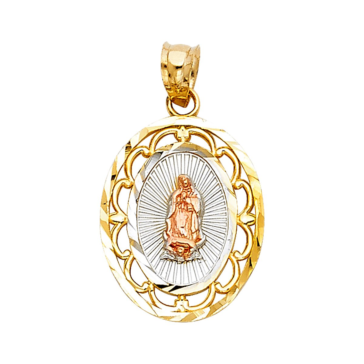 TGDJ 14k Yellow White Rose Gold Religious Guadlupe Pendant - Height 20 MM Width 15 MM