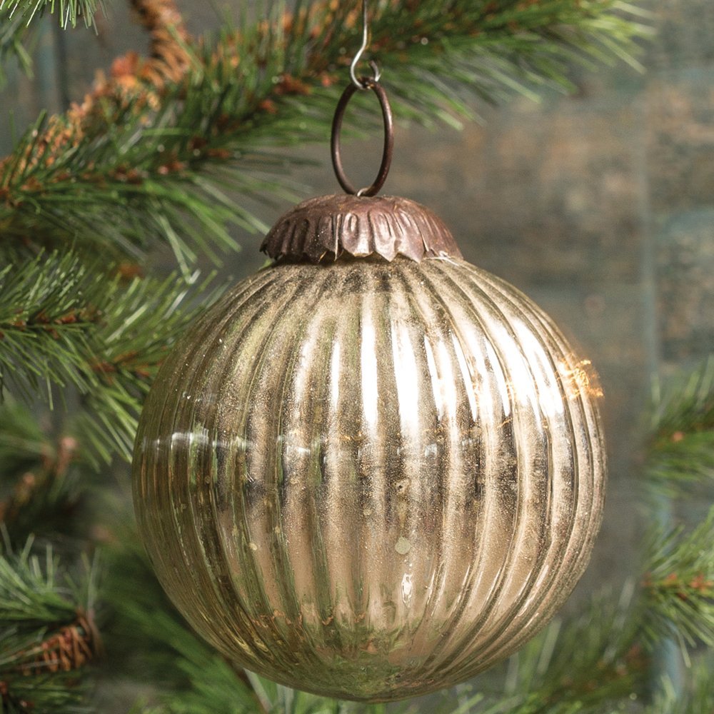 Silver Mercury Glass Ribbed Kugel Ornament - Set of 6