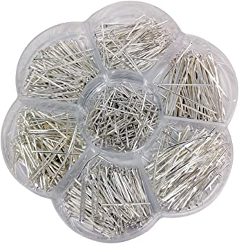Silver, Mix Chenkou Craft 700pcs Assorted of 7 Sizes Mix Eye Pins for Jewelry Making