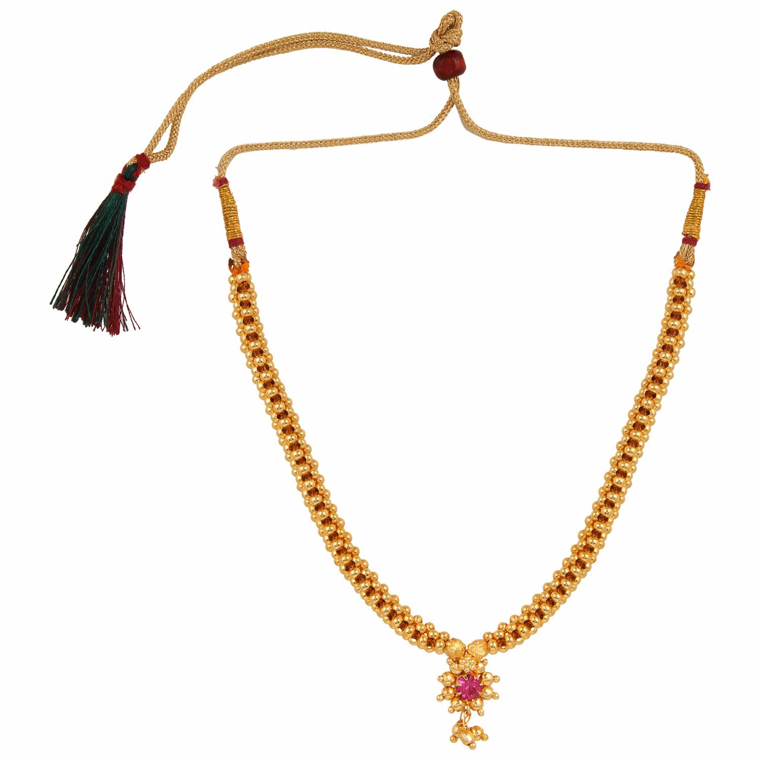 Efulgenz Indian Bollywood Traditional White Red Rhinestone Faux Ruby Pearl Designer Thusi Style Necklace in Antique 18K Gold Tone for Women and Girls (Style 1)