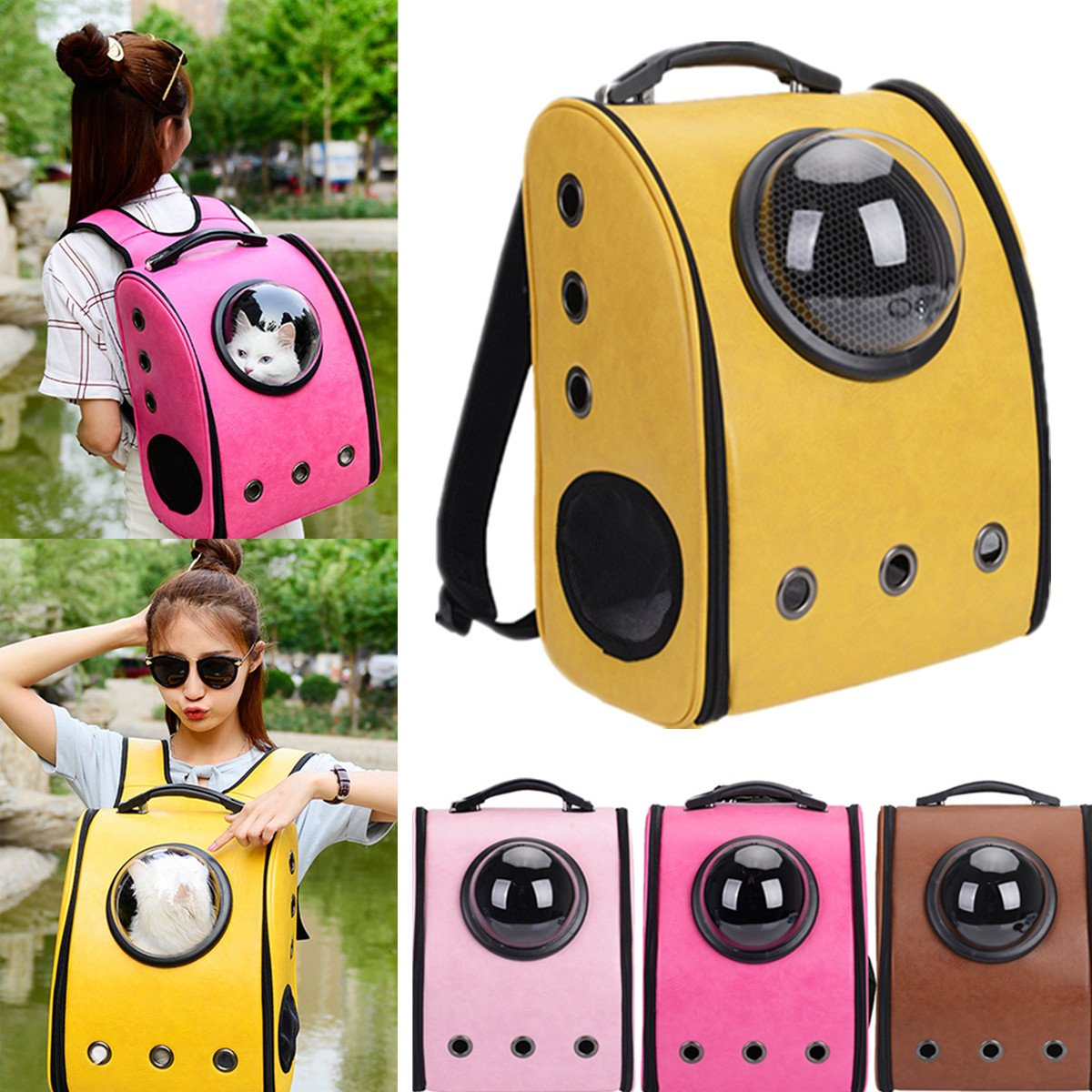 Global Brands Online Dog Cat Pet Astronaut Capsule Backpack Carrier Case with Transparent Breathable Cover
