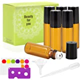 Mavogel 6 Pack 5ml Amber Glass Roller Bottles With Stainless Steel Roller Ball - Include 18 Peices Labels, Essential Oils Opener, 1ml Pipettes, Stainless Steel Mini Funnel