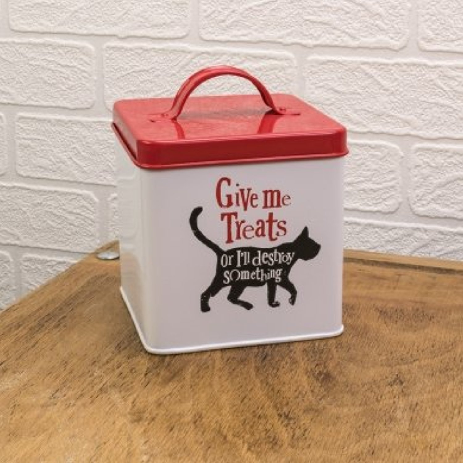 'Give Me friandises – en métal Cat Treats Tin The Bright Side